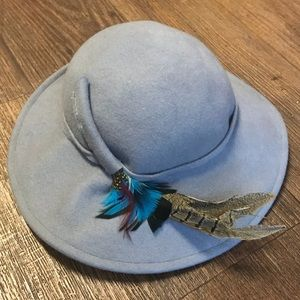 Wool Hat With Feather Detail